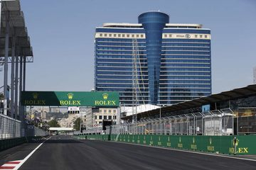 The Baku street circuit with a backdrop of local architecture.